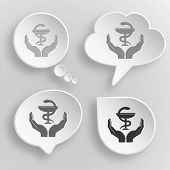 health in hands. White flat vector buttons on gray background.