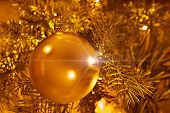 Christmas Decoration On Gold Blur Background