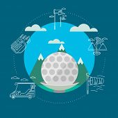 Flat vector illustration of golf