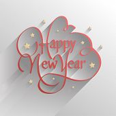 Digitally generated Happy new year vector embossed in red