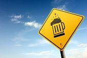 Beer Zone Ahead. Yellow Traffic Sign.