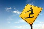 Water Skiing Ahead. Yellow Traffic Sign.