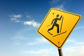 picture of nordic skiing  - Road sign series - JPG
