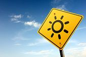 Sunny Day Ahead. Yellow Traffic Sign.