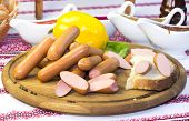 plate with sausages