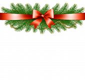 Background With Christmas Tree Branches And A Red Ribbon. Vector.