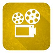 movie flat icon, gold christmas button, cinema sign