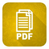 pdf flat icon, gold christmas button, pdf file sign