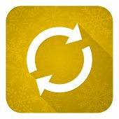 reload flat icon, gold christmas button, refresh sign