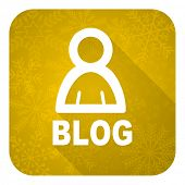 blog flat icon, gold christmas button