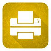 printer flat icon, gold christmas button, print sign