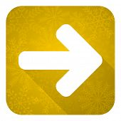 right arrow flat icon, gold christmas button, arrow sign