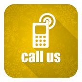call us flat icon, gold christmas button, phone sign