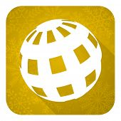 earth flat icon, gold christmas button