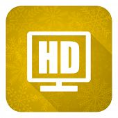 hd display flat icon, gold christmas button