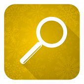 search flat icon, gold christmas button