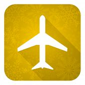 plane flat icon, gold christmas button, airport sign