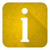 information flat icon, gold christmas button
