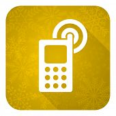 phone flat icon, gold christmas button, mobile phone sign