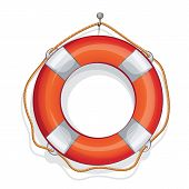 cartoon illustration of vector sailing red lifebuoy