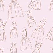 Sketches design dress hand drawn pen illustration seamless pattern