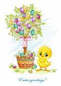 Easter day with a young chicken and Easter tree