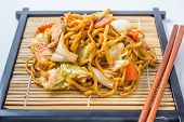 Yakisoba Japanese Food On A White Background.
