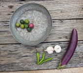 organic vegetables on rustic wood table