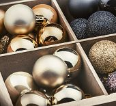 Wooden Box Filled With Christmas Balls