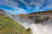 Dettifoss Waterfall In Iceland Under A Blue Summer Sky