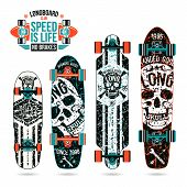 Set Of Skull Prints On Longboard