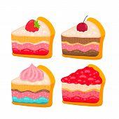 cute cartoon vector cake piece