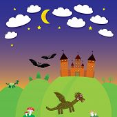 landscape with castle wizard, Cartoon Dragon, bats. Night. vector