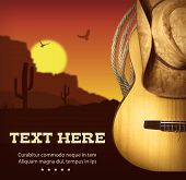 picture of cowboys  - Country music poster with guitar and cowboy western hat  - JPG