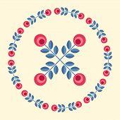 foto of scandinavian  - Scandinavian folk style flower in round floral ornamented frame - JPG
