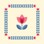 stock photo of scandinavian  - Scandinavian folk style flower in round floral ornamented frame - JPG