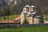 stock photo of serbia  - Panorama of medieval Poganovo Monastery of St - JPG