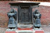 stock photo of hindu temple  - Entrance to a public Hindu temple in Bhaktapur Nepal - JPG