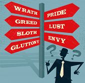 picture of envy  - Great illustration of Retro styled Businessman at a Seven Deadly Sins Signpost with a selection of Characteristic related options and choices to make - JPG