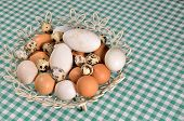 stock photo of chicken-wire  - Pile of eggs  - JPG
