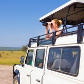 stock photo of observed  - Young blond lady on safari standing in open roof jeep observing wild animals through binoculars - JPG