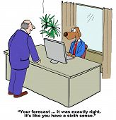 foto of senses  - Cartoon of businessman boss saying to business dog that the dog - JPG