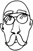 stock photo of bald man  - ack and white vector sketch of a bald man with a mustache wearing glassesve - JPG