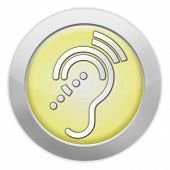picture of hearing  - Icon Button Pictogram with Hearing Impairrment symbol - JPG