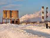 foto of railroad yard  - snow covered rail yard on a winter morning - JPG