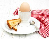 image of boil  - boiled eggs for breakfast on a old wooden table - JPG