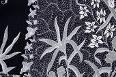 picture of batik  - Close up flower pattern background on batik fabric - JPG