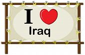 stock photo of iraq  - I love Iraq banner with wooden frame - JPG