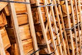 foto of firewood  - Dry firewood neatly folded and waiting for winter - JPG