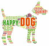 picture of dog tracks  - Dog shaped dog word cloud on a white background - JPG